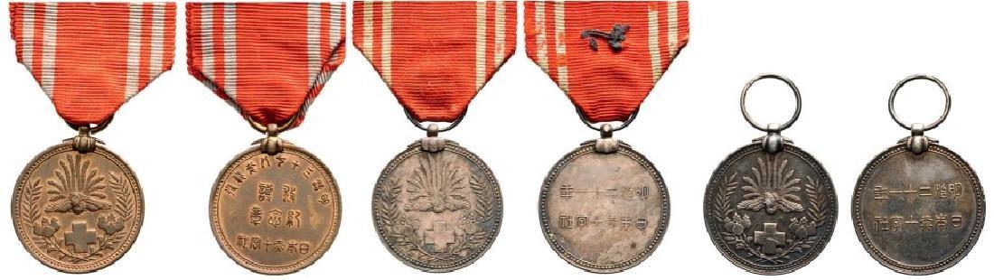 Lot of 3 Red Cross Membership Medal, instituted in 1888