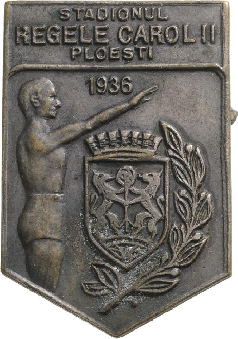 King Carol II Stadium in Ploiesti Badge, 1936