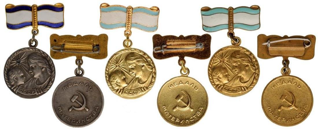 Lot of 3 Medal for Motherhood, instituted in 1944