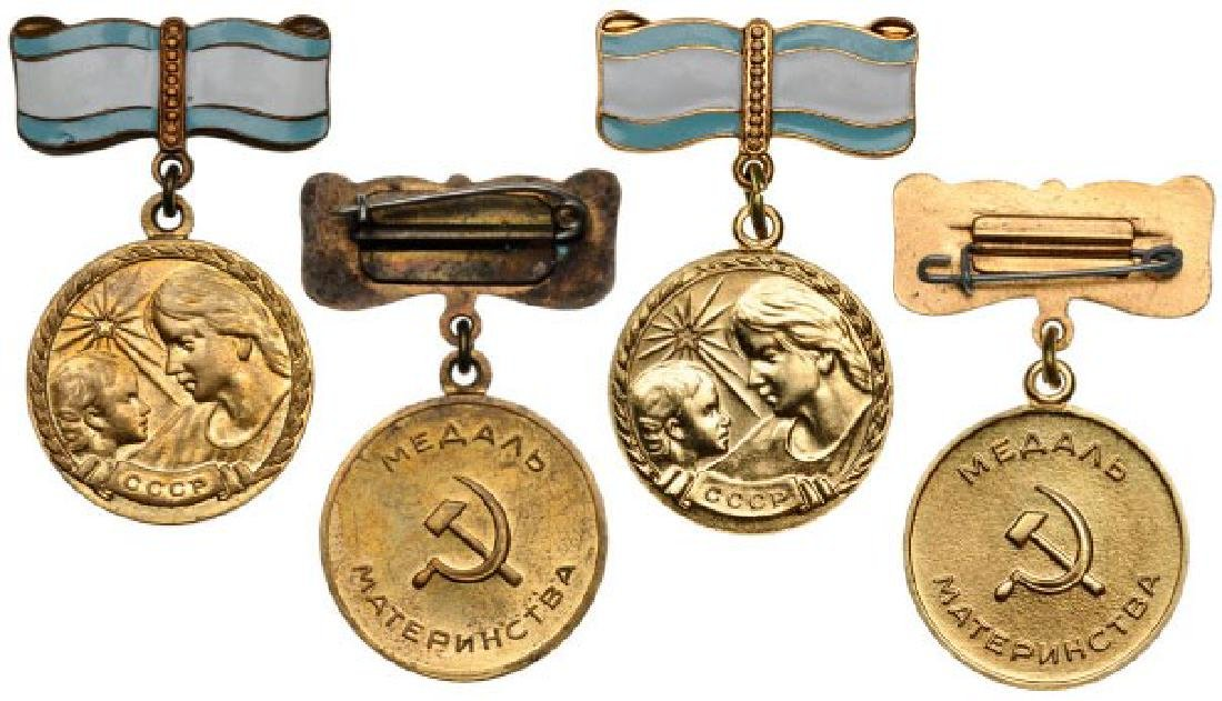 Lot of 2 Bronze Medal for Motherhood, instituted in