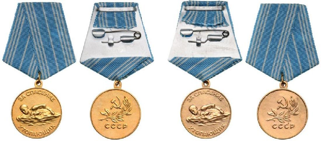 Lot of 2 Medal for Lifesaving from Drowning, instituted