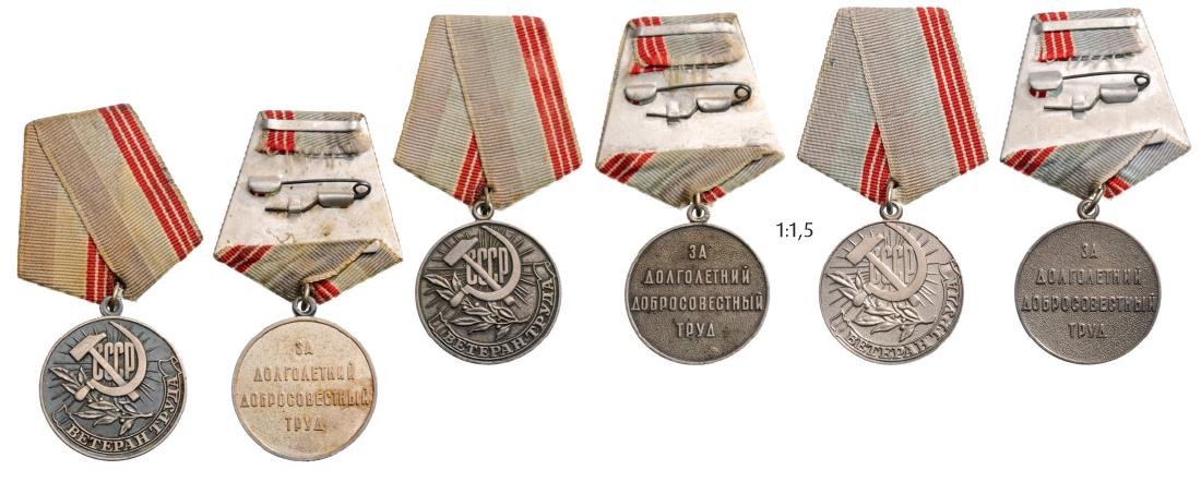Lot of 3 Medal for Veterans of Labor, instituted in