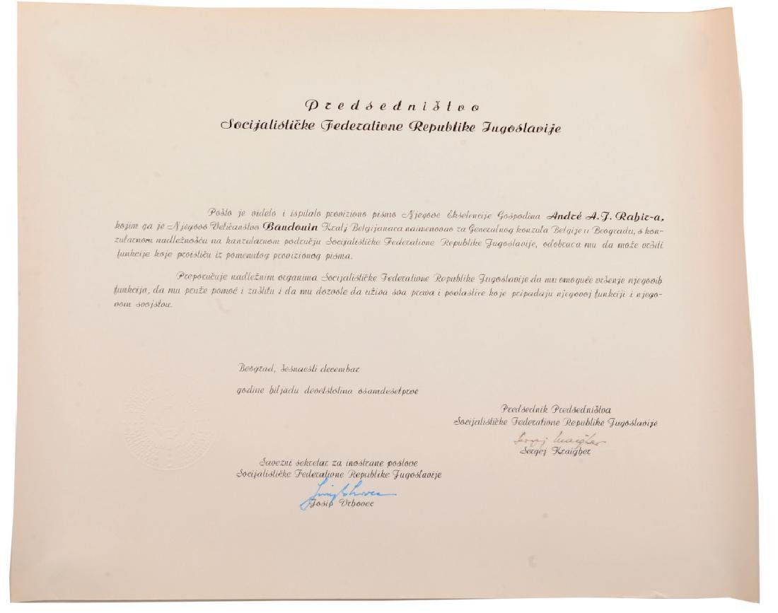 Letter of acknowledgement of a Belgian Diplomat to the