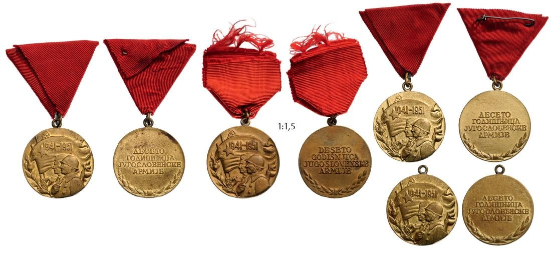 """Medals for the """"10 Years of the Yougoslav Army"""""""