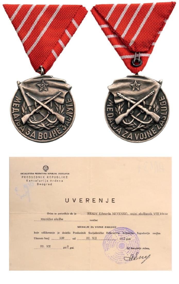 Medal for Military Merit and Diploma awarded to a