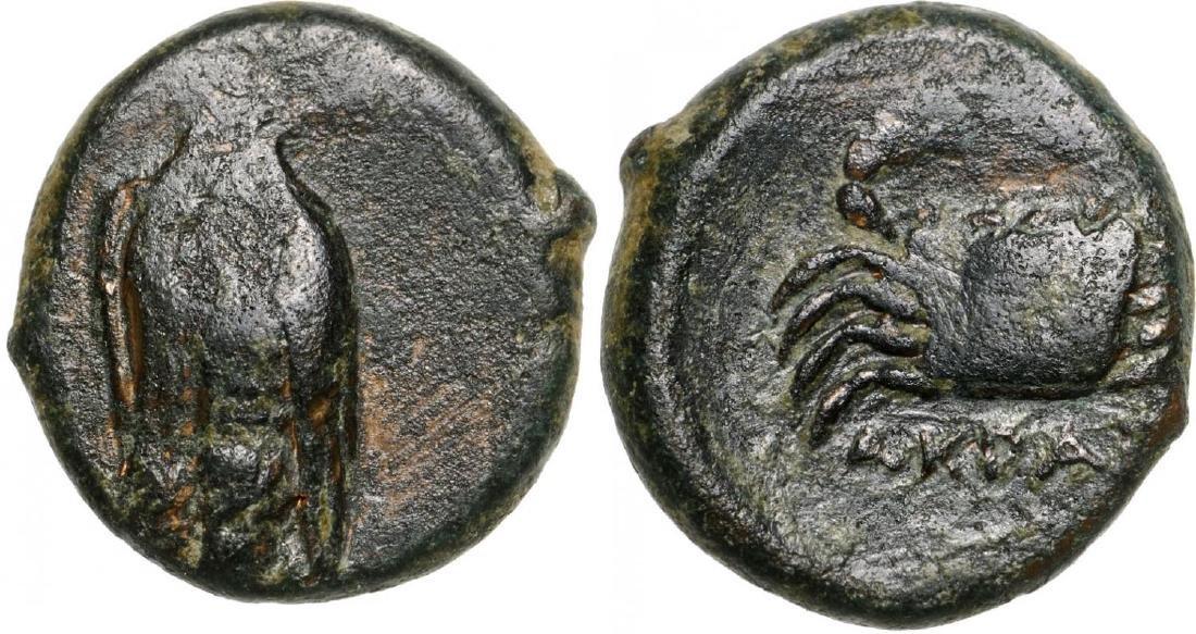 Akragas, AE Onkia (13 mm, 2.3 g), 338-317 BC
