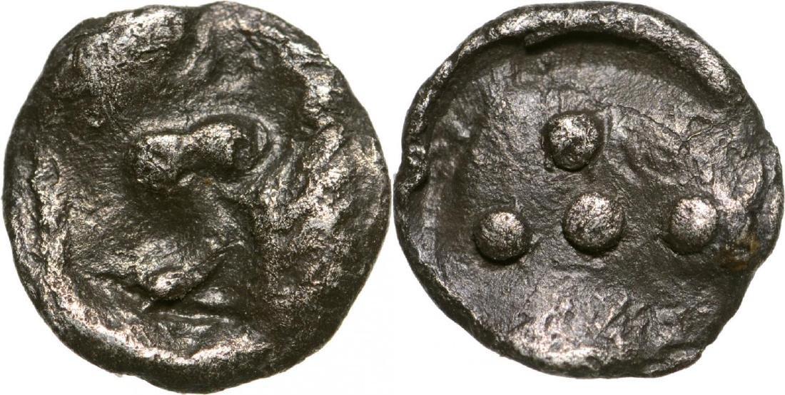 Leontinoi, AR Pentonkion (7 mm, 0.17 g), 475-470 BC