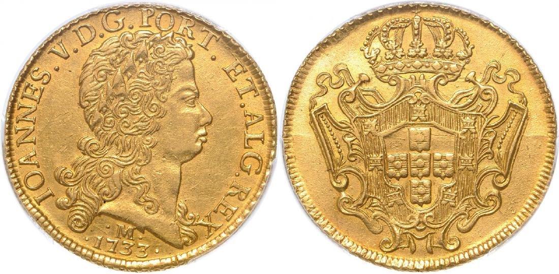 JoÃo V, 12800 Reis 1733-M 12800 Reis, Gold