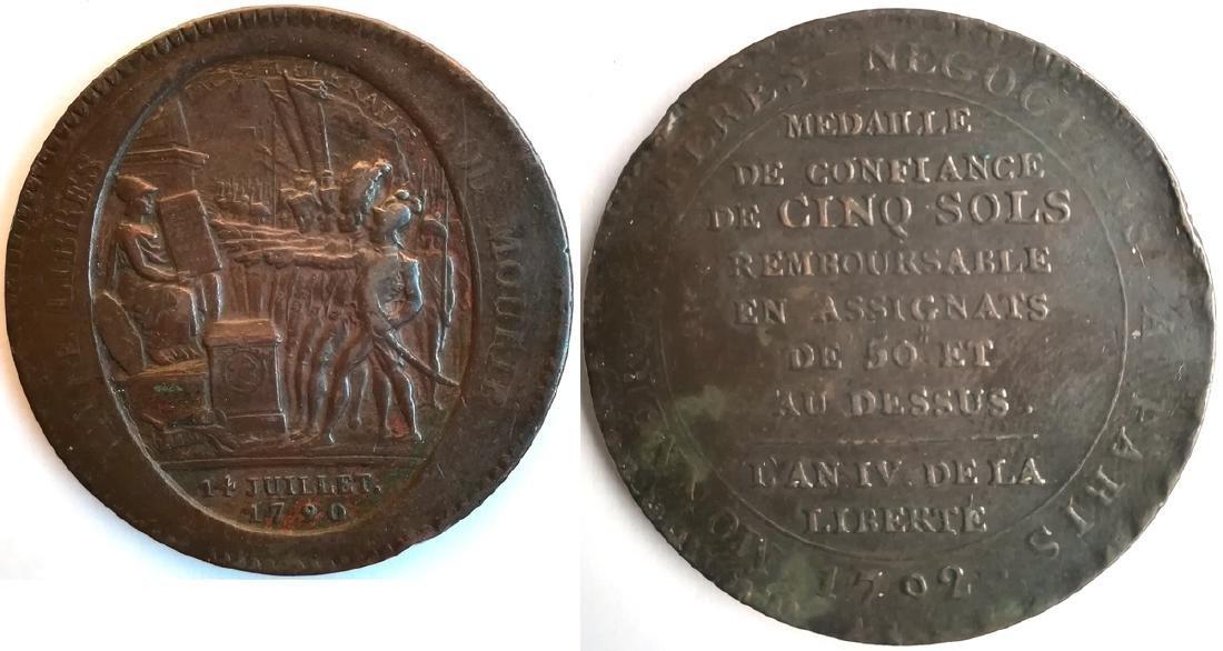 Constitution (1791-1792). Monneron de 5 sols - 1792 An