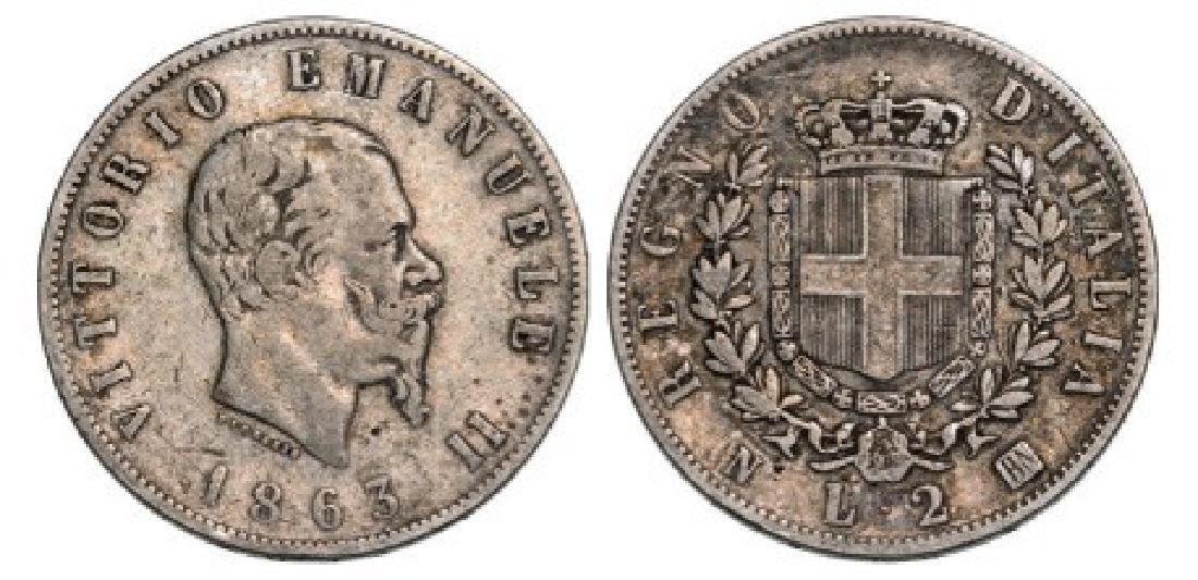 Vittorio Emanuele II (1861-1878), 2 Lire 1863 NBN