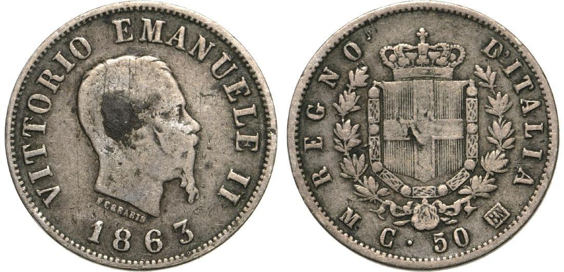 Vittorio Emanuele II (1861-1878). 50 Centesimi 1863 BN.