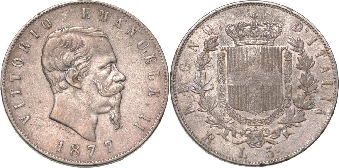 Vittorio Emanuele II (1861-1878). 5 Lire 1877 Roma