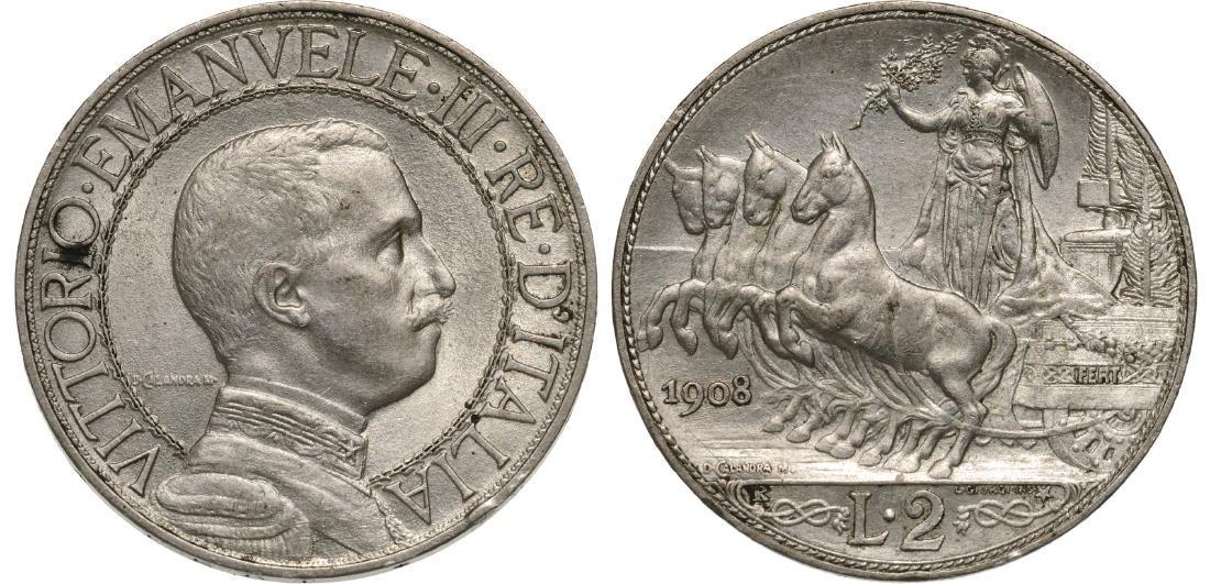 Vittorio Emanuele III (1869-1947). 2 lire 1908