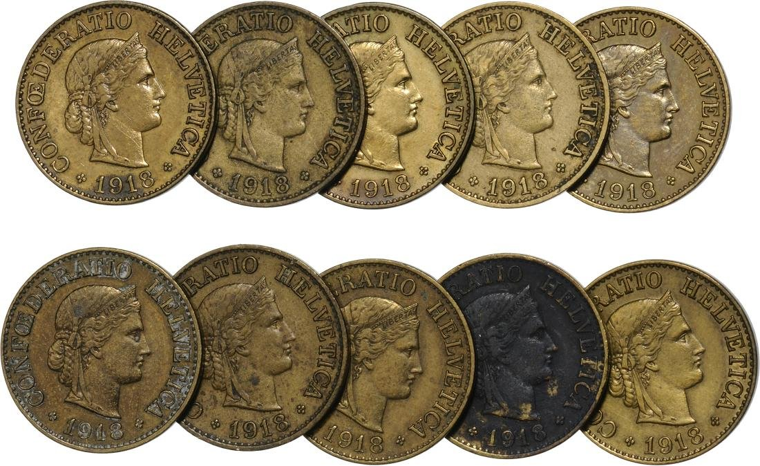 Lot of 10 pieces. 10 centimes 1918