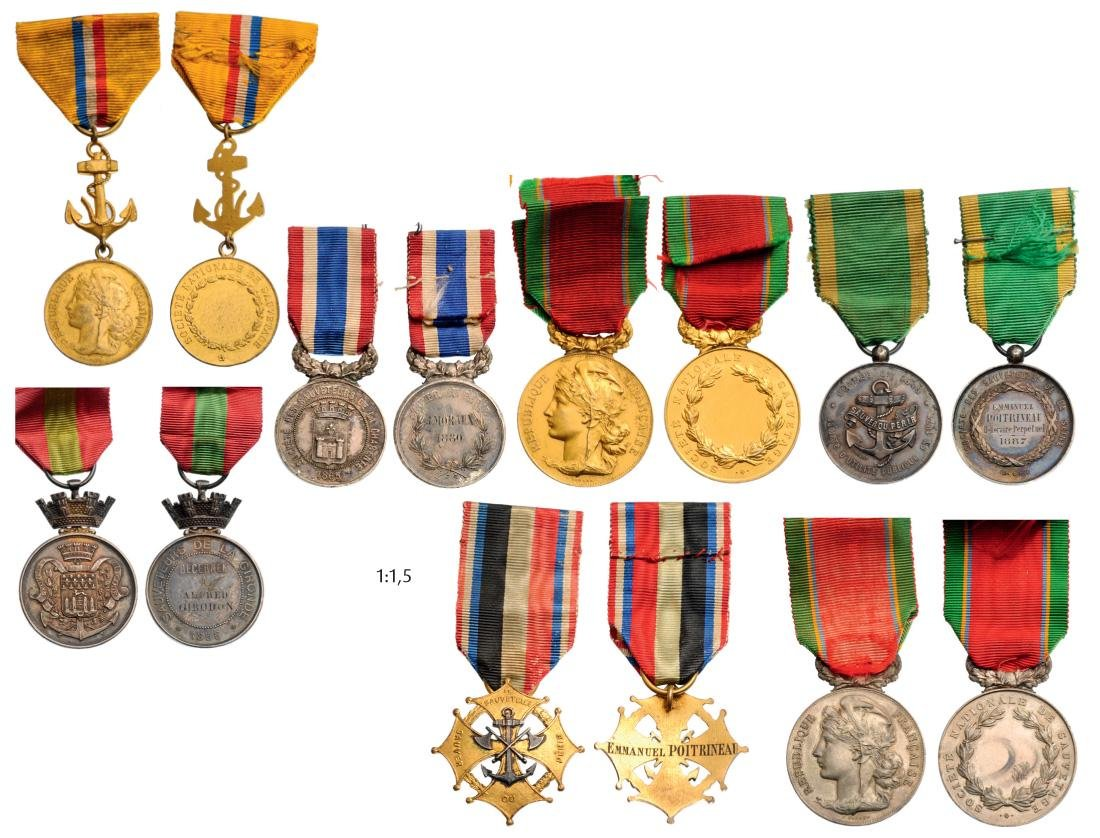 Lot of 7 Medals of various Rescuers Societies (Gironde,