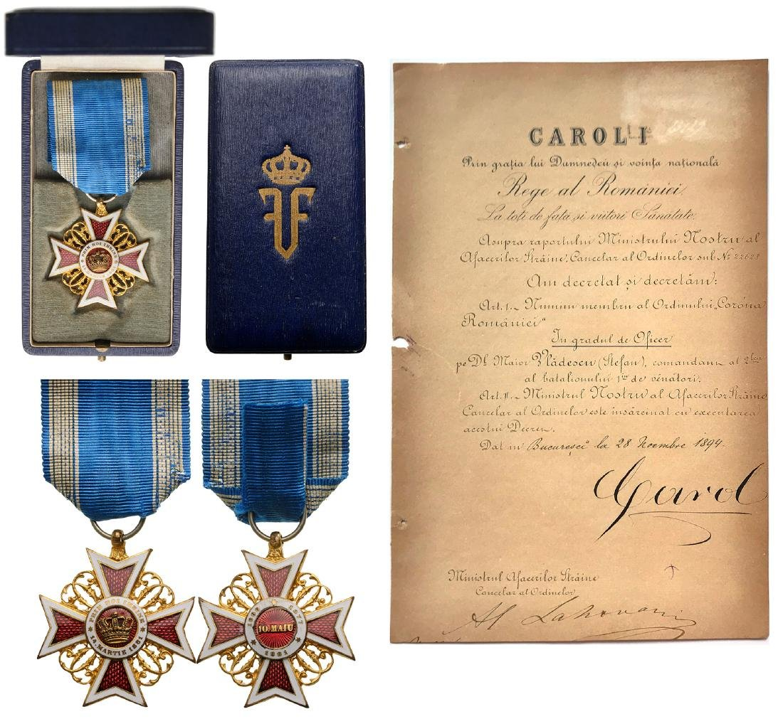ORDER OF THE CROWN OF ROMANIA, to a Romanian Major,