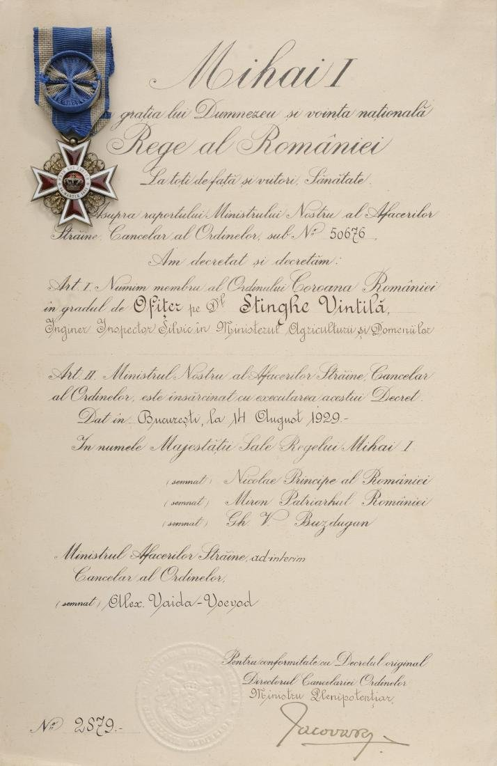 ORDER OF THE CROWN OF ROMANIA, to a Romanian Forest