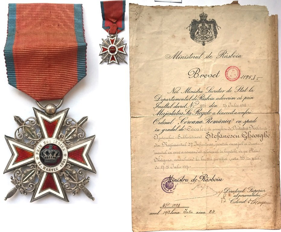 ORDER OF THE CROWN OF ROMANIA, to a Help-2nd Lieutenant - 2