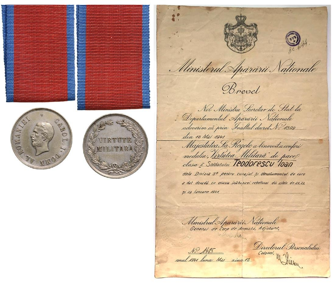 Military Virtue Medal, 2nd Class, 1872, to a Romanian