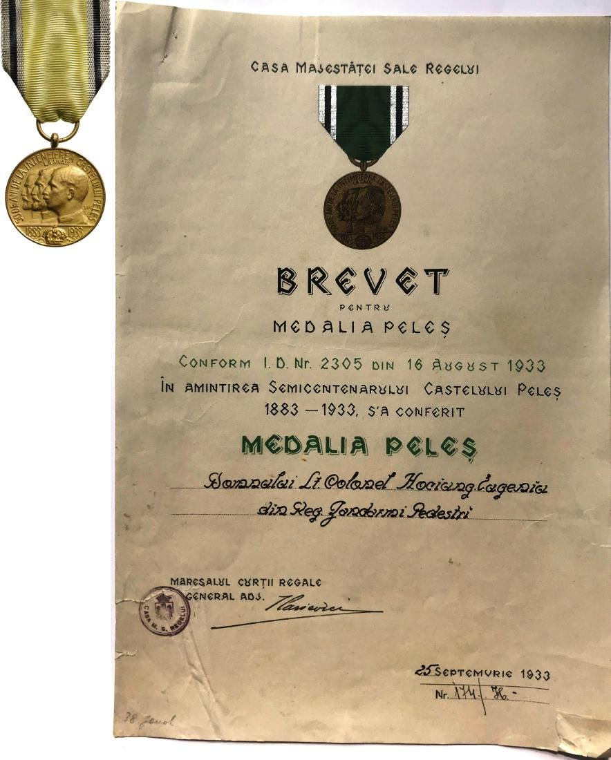 Medal of Peles Castle, 1933, to a Romanian