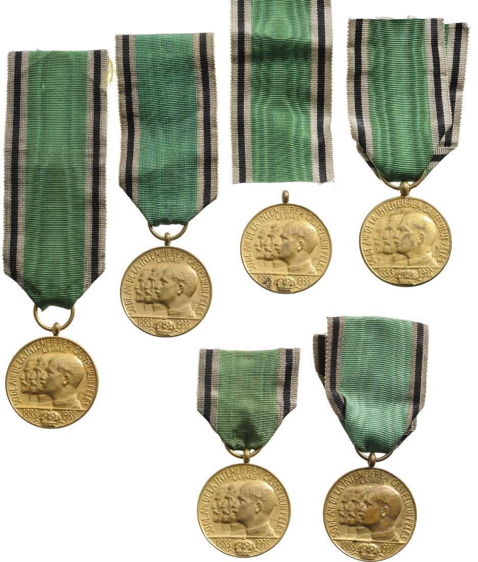 Lot of 6. Medal of Peles Castle, 1933