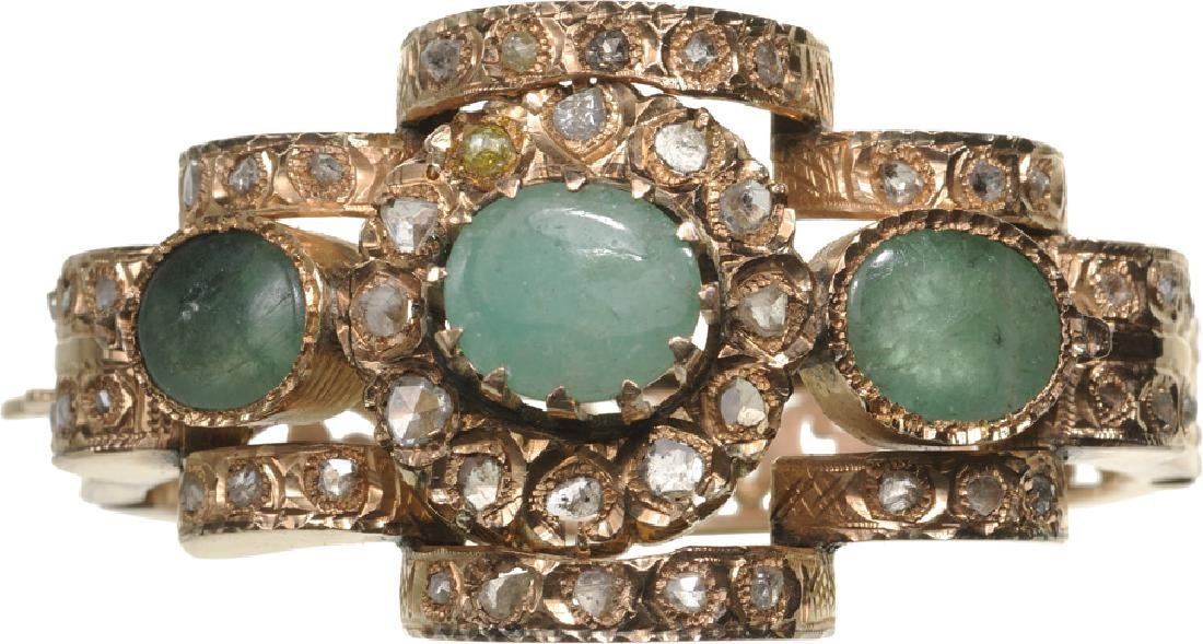 Oriental Bracelet, Gold, Diamonds and Emeralds