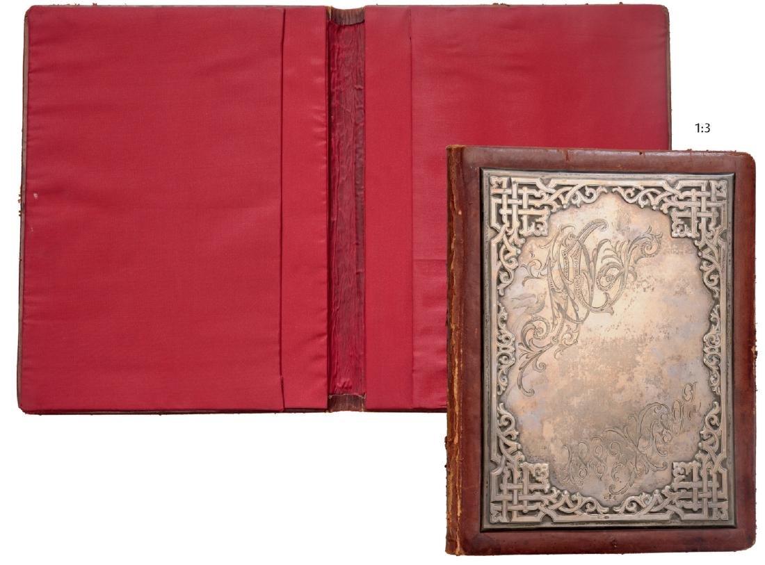 """Smart desk pad """"portofolio"""" in leather and silver"""
