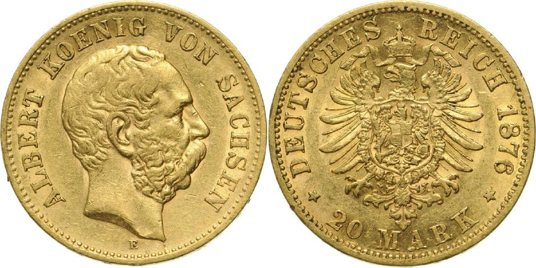 Albert (1873-1902), 20 Mark 1876, Gold (7.90 g)
