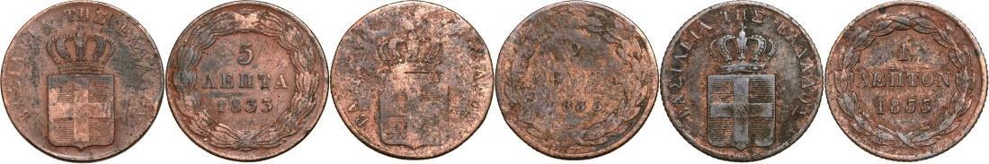 Lot of 3. Otto I (1832-1862), 1 Lepton, 2 Lepta, 5