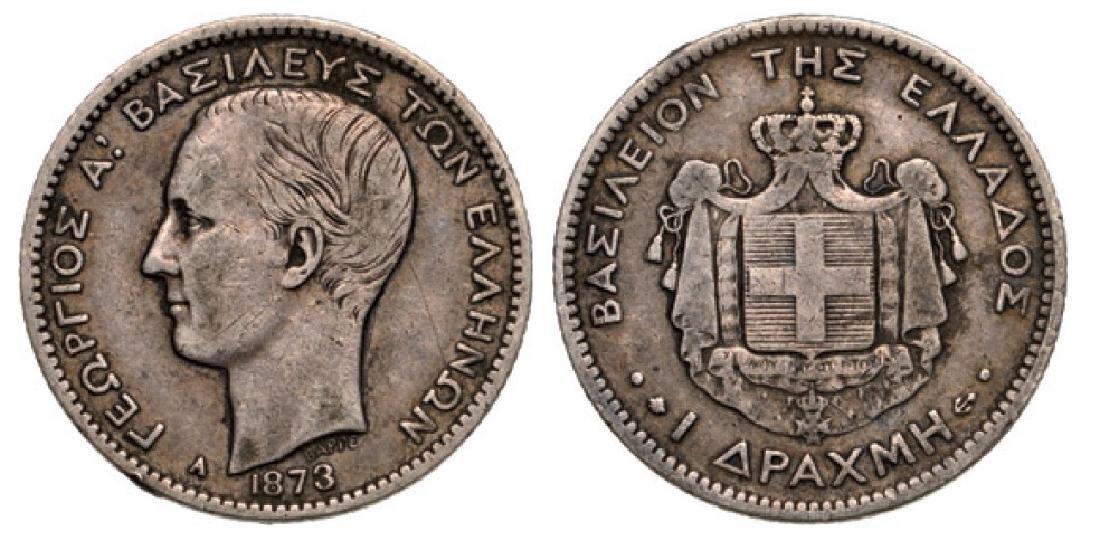 George I (1863-1913), Drahma 1873 A, Silver (4.90 g)