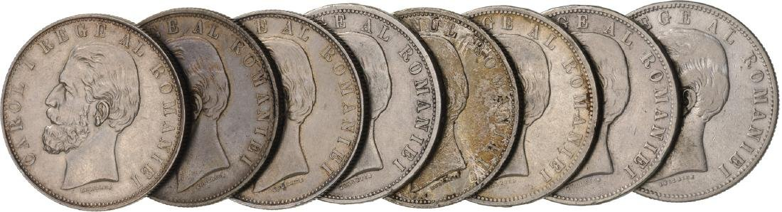 Lot of 8 Silver coins, Carol I, 5 Lei 1881