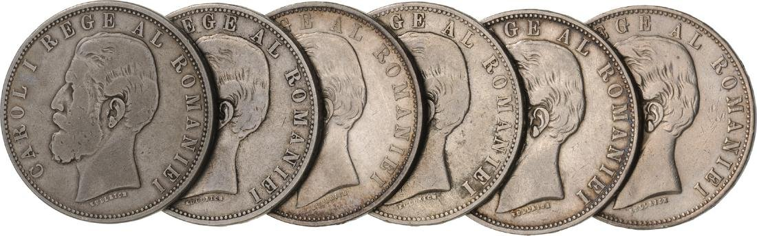 Lot of 6 Silver coins, Carol I, 5 Lei 1882, Bucharest