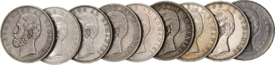 Lot of 9 Silver coins, Carol I, 5 Lei 1883, Bucharest