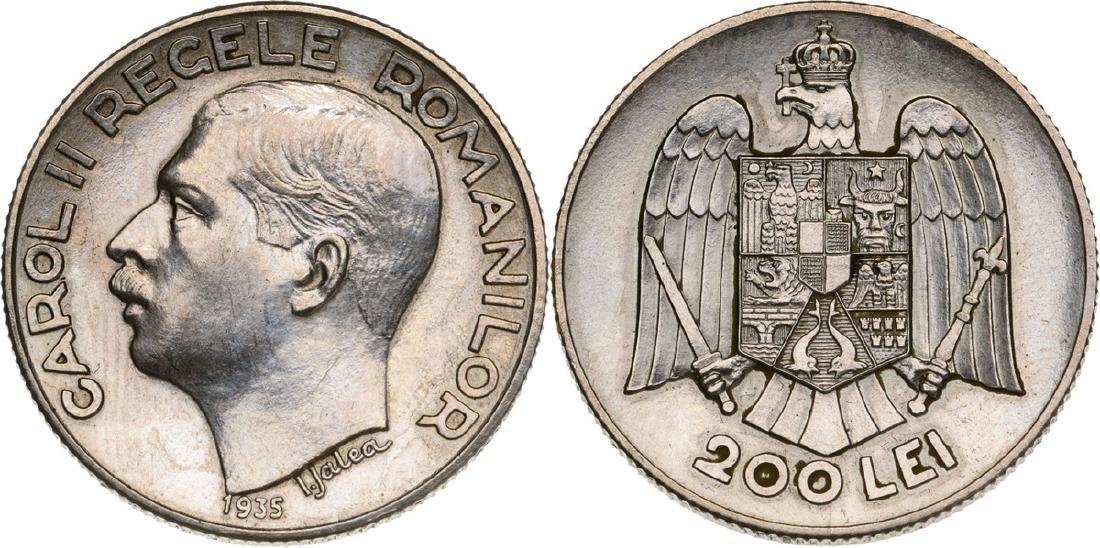 Carol II, 200 Lei 1935, Pattern, Bucuresti, Silver