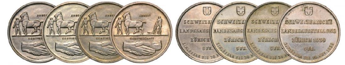 Lot of 4 coins. 5 Franc 1939, Landesausstellung Zurich