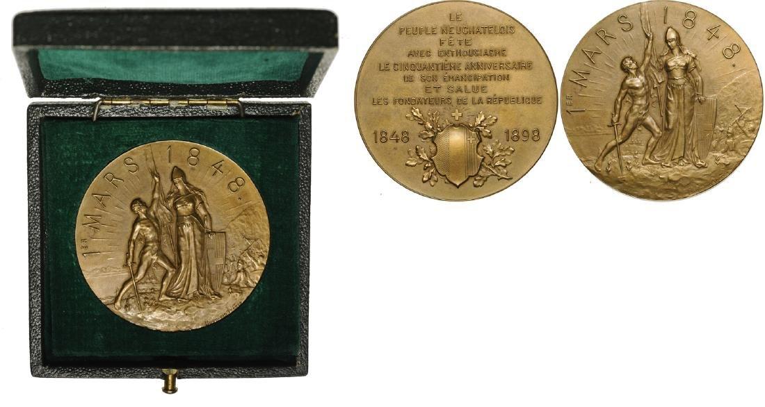 Bronze medal (48 mm, 51.25 g, 1898 by Huguenin, 50