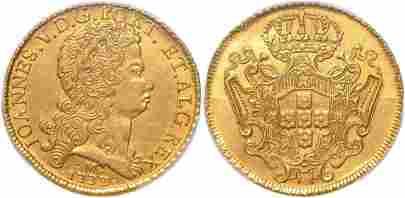 Joao V, 12800 Reis 1733-M 12800 Reis, Gold