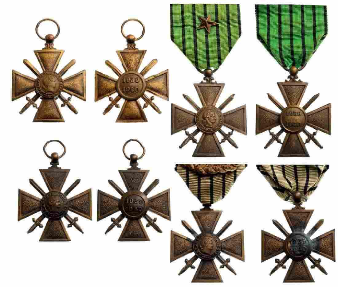 Lot of 4 War Crosses 1939-40, so called Vichy Type