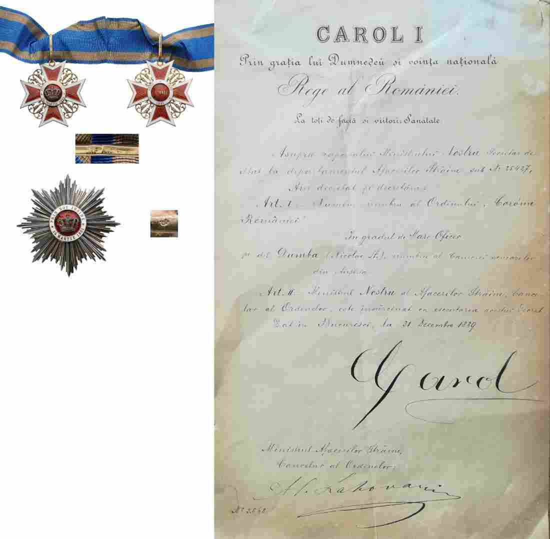 ORDER OF THE CROWN OF ROMANIA, 1883 to a Member of the