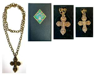 Orthodox bronze devotional pectoral cross