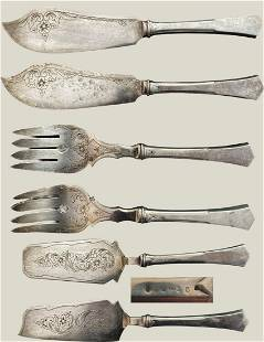 Set of two silver fish service cutlery