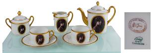 A Bohemian porcelain coffee service for two, with the