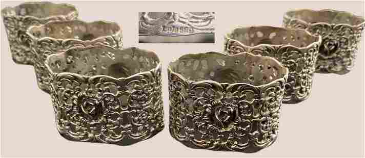 Nice series of six napkin rings in silver