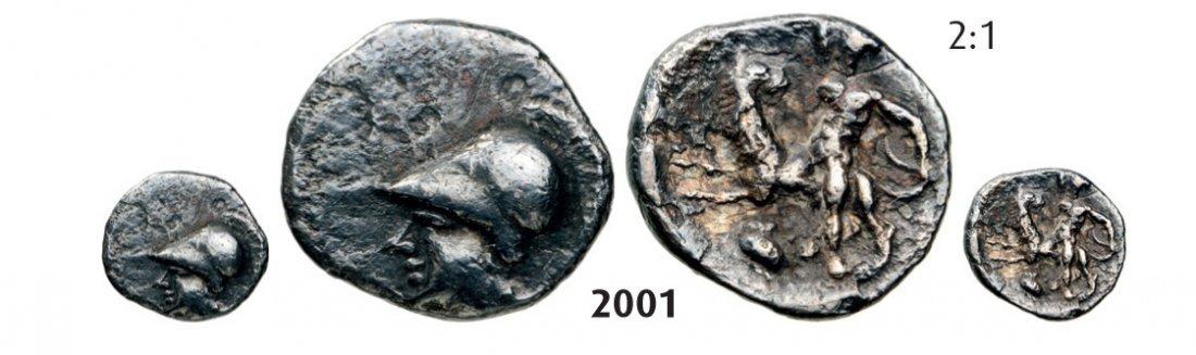 CALABRIA TARENTUM Obol, Silver (0.91g) Obv.