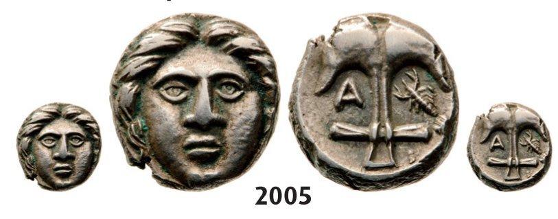 Diobol (Struck 400-350 BC) Silver (1.21g) Obv.