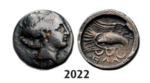 Chalkis Drachm (Struck 340-294 BC) Silver (2.98g) Obv.