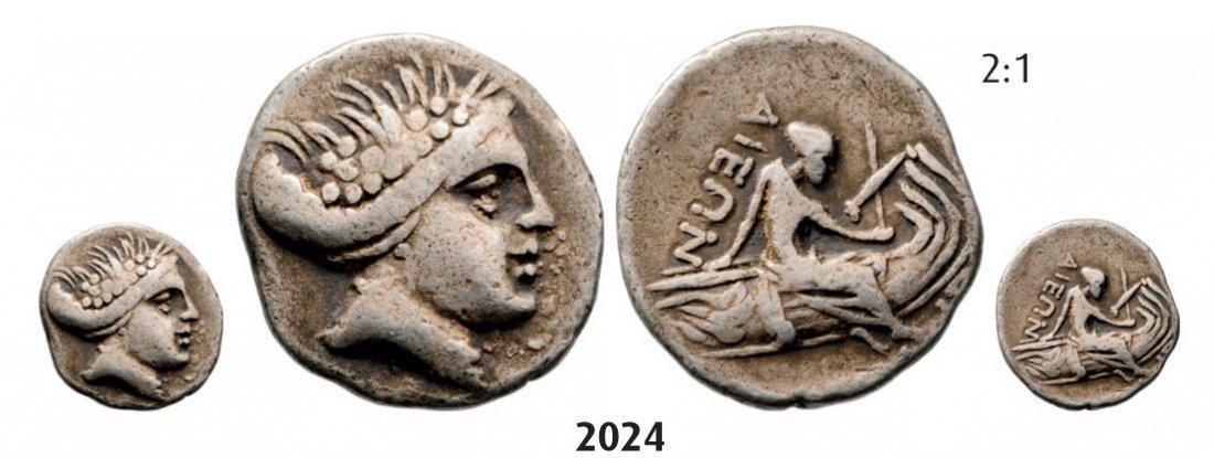 Histiaia Tetrobol (Struck 369-346) Silver (1.76g) Obv.