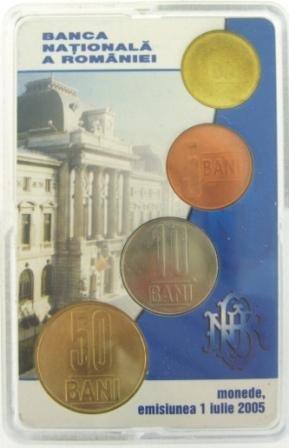 SET OF 4 COINS: 1, 5, 10, 50 BANI