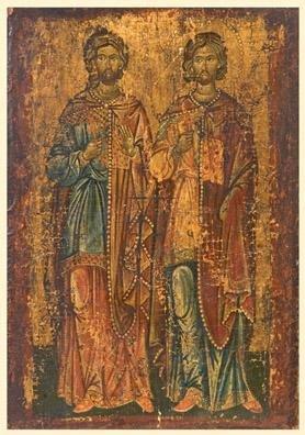 Byzantine icon of two saints