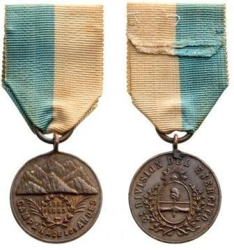 Andes Campaign Medal, Bronze Medal, instituted in 1885